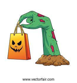 death zombie hand with shopping bag halloween icon