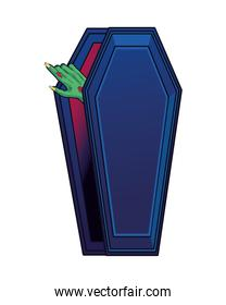 death zombie hand in coffin halloween icon