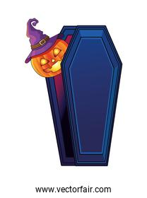halloween pumpkin in coffin isolated icon