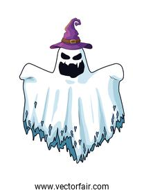 halloween ghost floating with witch hat character icon