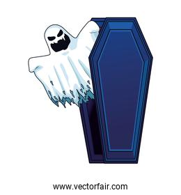 halloween ghost floating in coffin character icon