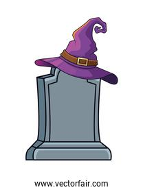 halloween witch hat in graveyard icon