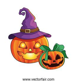 halloween pumpkins faces with bow and witch hat icon