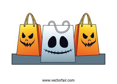halloween shopping bags with faces icons