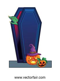 death zombie hand in coffin and pumpkins halloween icon