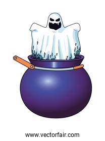 halloween ghost floating in cauldron character icon