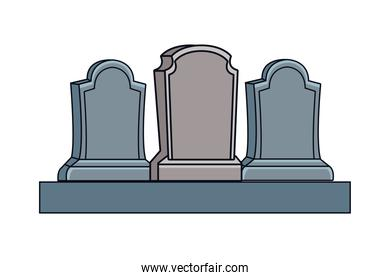 cemetery tombs halloween isolated icons