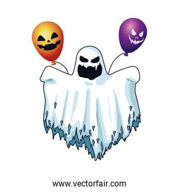 halloween ghost floating and balloons helium character icon