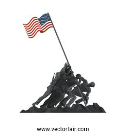 soldiers lifting united states of america flag