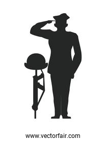 officer military saludating with helmet in rifle silhouette veterans day