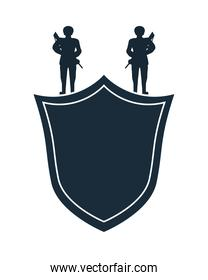 soldiers with rifles in shield silhouette