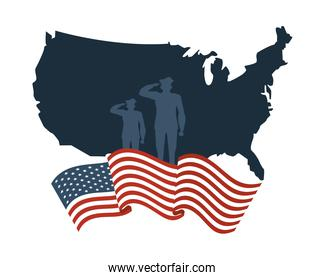 soldiers silhouette in map with united states of america flag