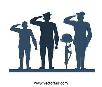 group of officers soldiers saludating silhouette