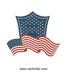 united states of america flag with shield