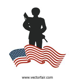united states of america flag with soldier silhouette