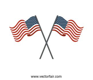united states of america flags in poles crossed