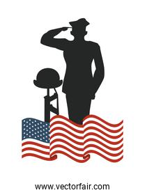 united states of america flag with officer and rifle silhouette