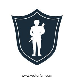 soldier with rifle silhouette in shield veterans day