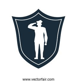 officer military saludating in shield silhouette veterans day