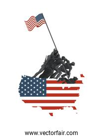 soldiers lifting united states of america flag in map