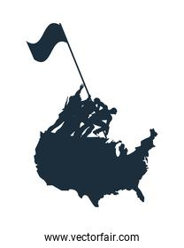 group of soldiers lifting flag silhouette in usa map