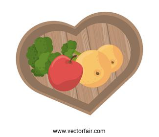 orange and tomatoes with broccoli in kitchen wooden board