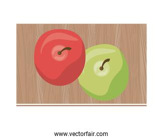 tomato and apple in kitchen wooden board