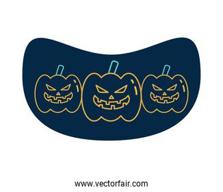 halloween pumpkins faces neon style icons