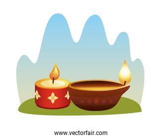 hindu religion candles wooden and red