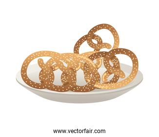 dish with pretzels pastry food