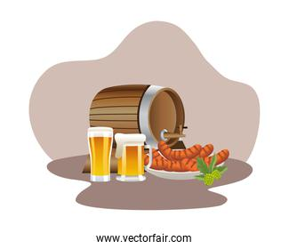beer barrel drink wooden and jars with sausages