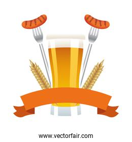 beer glass drink with sausages in forks
