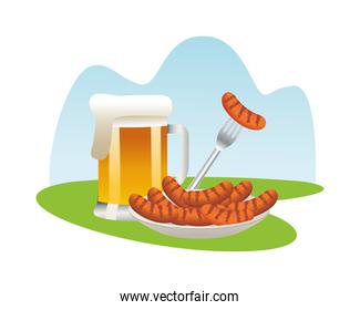 beer jar with sausages in dish