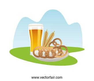 beer glass drink with pretzels and barley spikes