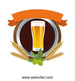 beer glass drink with barley spikes emblem