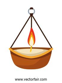 hindu religion candle wooden hanging