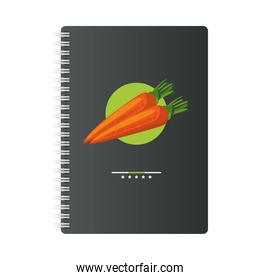 notebook mockup brand with carrots healthy food