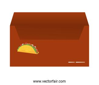 envelope mail mockup with tacos mexican food