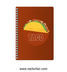 notebook mockup brand with taco mexican food