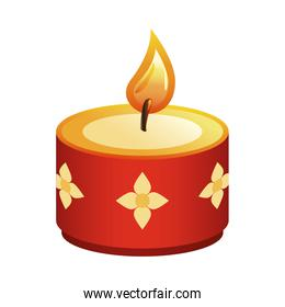 hindu religion candle red with golden flowers