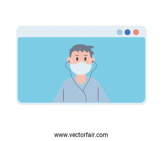 young man wearing face mask listen music in webpage template