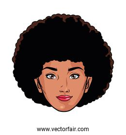afro young woman head pop art style