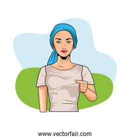cute young woman wearing head scarf pop art style