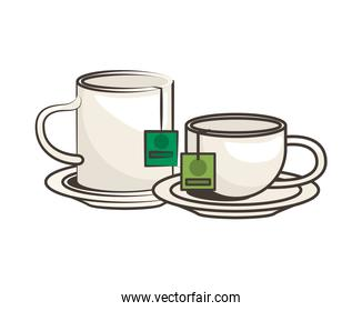 teacup and mug in dishes icon