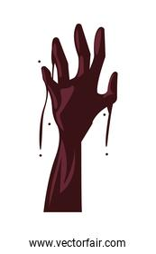 zombie death hand isolated icon