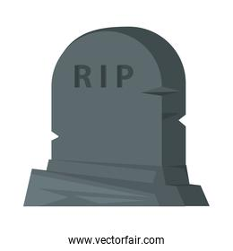cemetery tomb with rip word icon