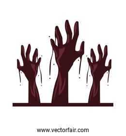 zombie death hands isolated icon