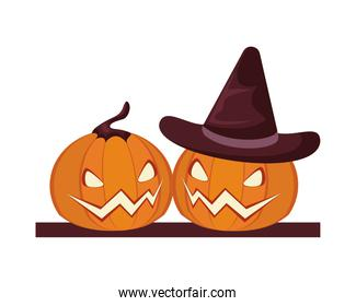 halloween pumpkins faces lanterns with witch hat
