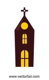 halloween church tower isolated icon
