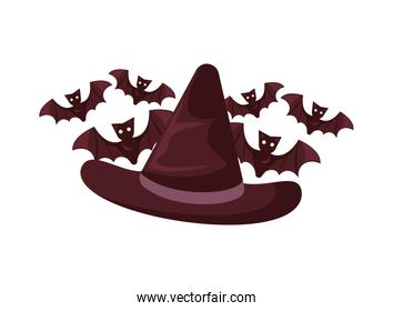 halloween witch hat accessory and bats flying
